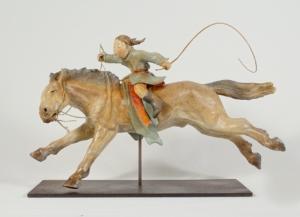 Sculpture de Sandra Courlivant : cavalier des steppes de Mongolie