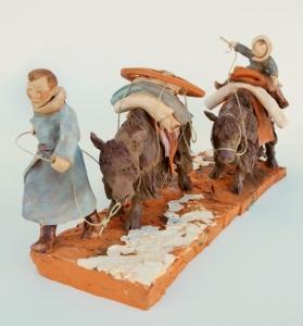 Sculpture de sandra Courlivant : Flûtiste sur un yack en Mongolie